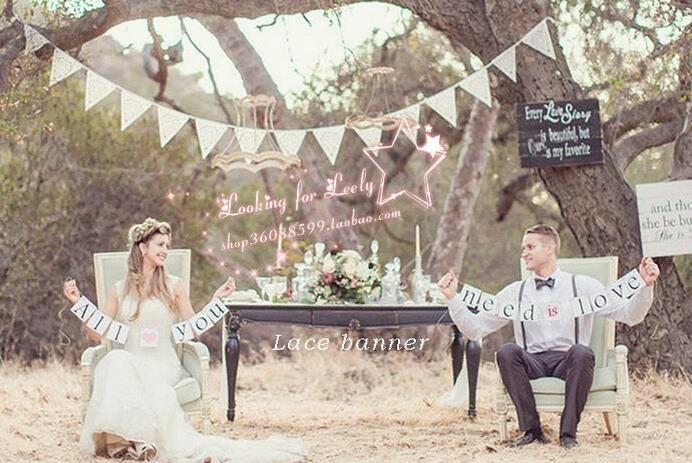 bartek Team Lace Triangle Flag Vintage Wedding <font><b>Decoration</b></font> flags Photo Party Festival Wedding Supplier