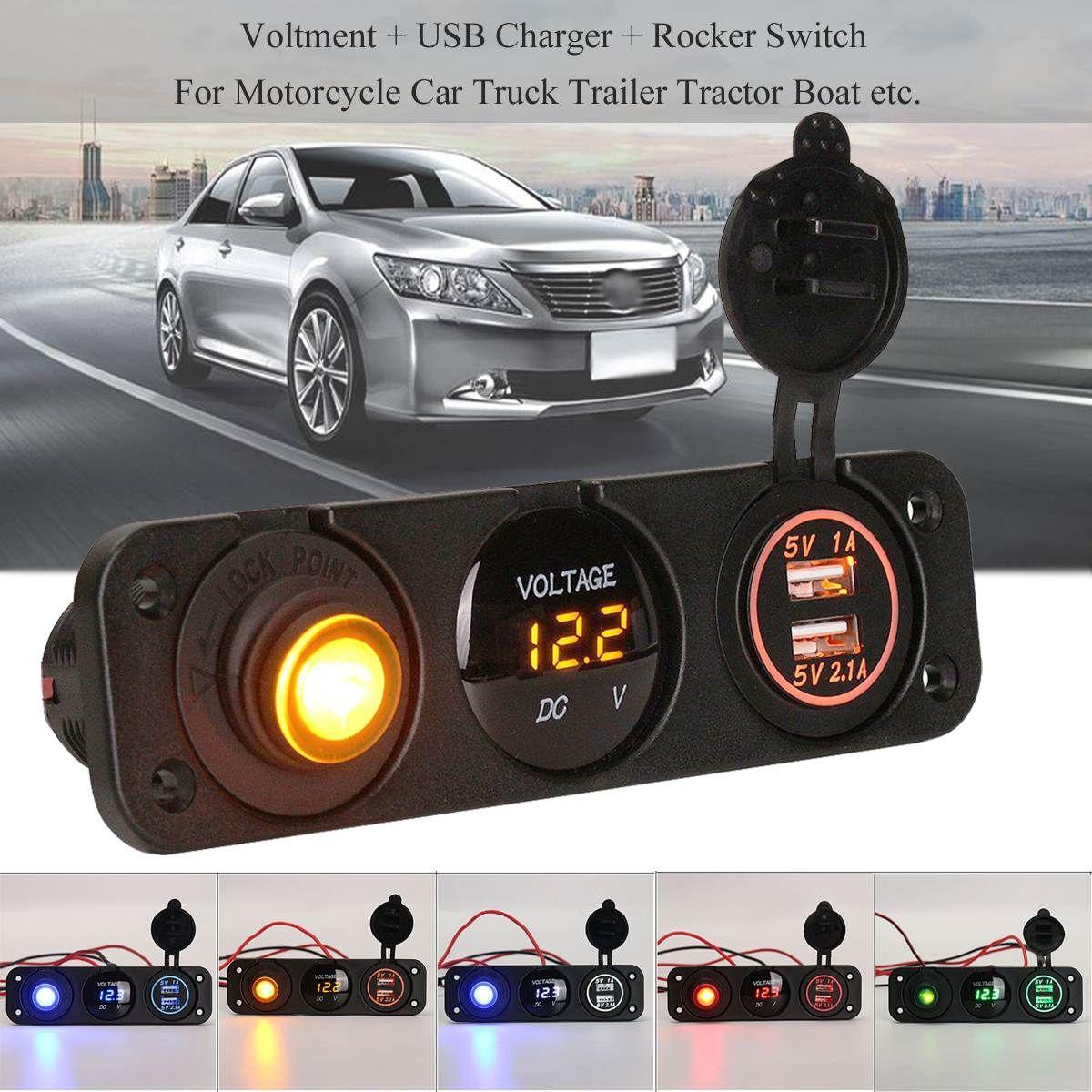 3 in 1 DC 12V 3.1A Universal Voltmeter Dual USB Car Charger Rocker Switch Cigarette lighter For Car Boat RV Truck