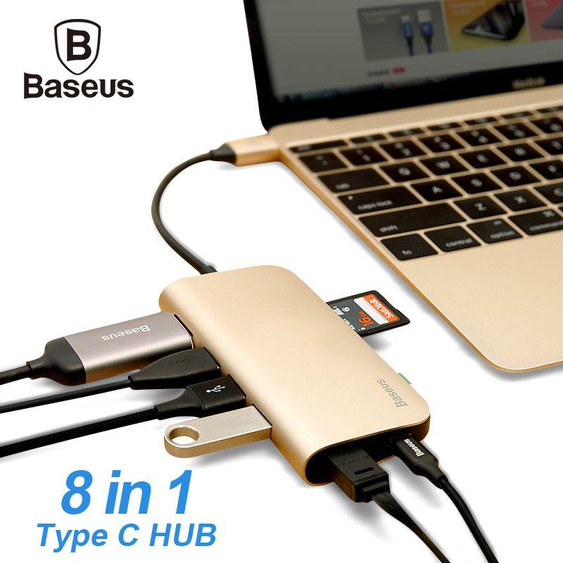 BASEUS USB c концентратор 8 в 1 USB-C концентратор с Тип-C до нескольких USB 3.0 HDMI RJ45 Ethernet сети Micro SD Card Reader OTG Тип c концентратора