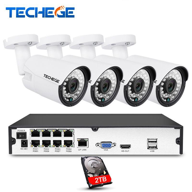Techege 8CH 1080 P POE NVR kit 2MP 3000TVL PoE IP Caméra P2p couverture CCTV Système IR Nuit Extérieure Vision Vidéo Surveillance Kit