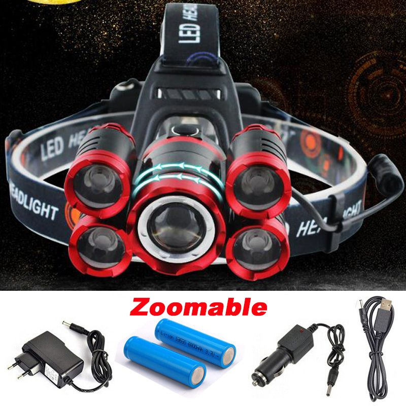 CREE 5*LED XML T6 Headlight 20000 <font><b>Lumens</b></font> 4mode Zoomable Headlamp Rechargeable Head Lamp flashlight+2*18650 Battery+AC/DC Charger