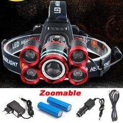 CREE 5 * LED XML T6 Phare 20000 Lumens 4 mode Zoomable Projecteur Rechargeable Lampe de Tête lampe de poche + 2*18650 Batterie + AC/DC Chargeur