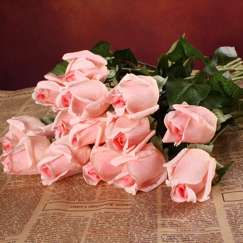 20 pièces/ensemble fleurs artificielles fleurs en soie blanc réel toucher fleurs mariage Bouquet maison fête décoratif fête fleurs
