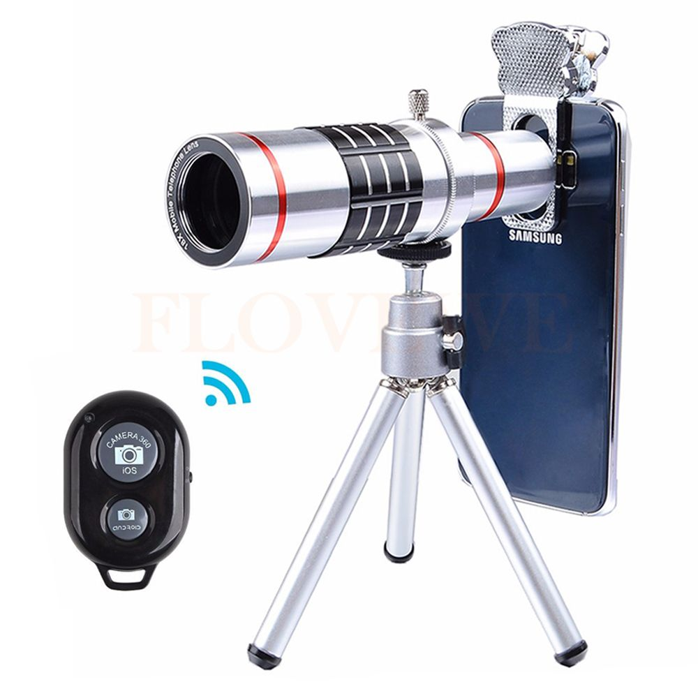 2017 7in1 Universal Clips 18X Optical Telescope Lens Telephoto Zoom Lens For Smartphone iPhone 6 7 with Tripod Bluetooth Shutter