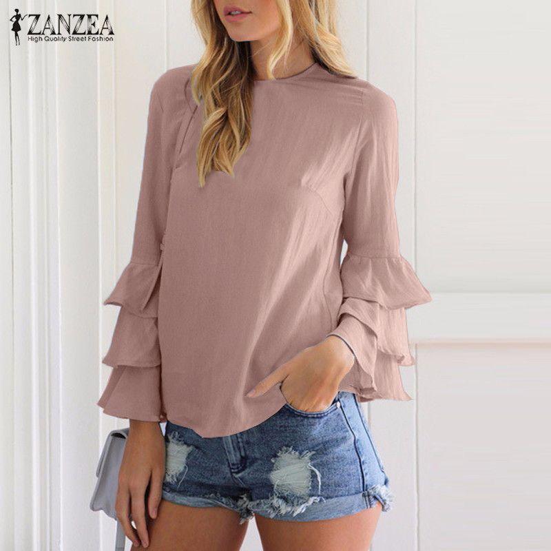 Zanzea mujeres Blusas Camisas 2018 otoño elegante damas o-cuello flounce manga larga solid blusas casual suelta Tops