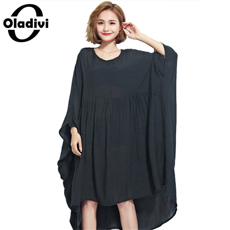 Oladivi robe oversize pour femmes mousseline de soie chemises de grande taille robe d'été femme grande top t-shirts tunique noir chemise robes 10XL 8XL