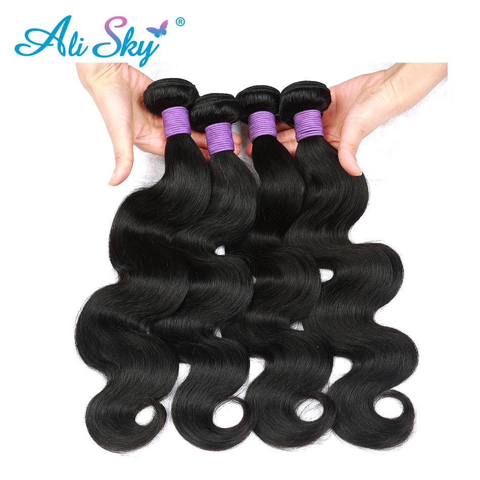 Pervuvian Vague De Corps tissage De Cheveux Humains Noir naturel Ali Ciel Non Transformés épais et pleins N'empaquettent aucun embrouillement livraison gratuite nonremy