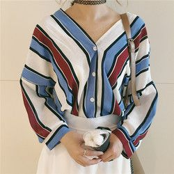 2018 Summer Women Blouses Fashion New Work Shirt Striped Loose V-neck Tops Plus Size Shirt Women Batwing Sleeve Tops