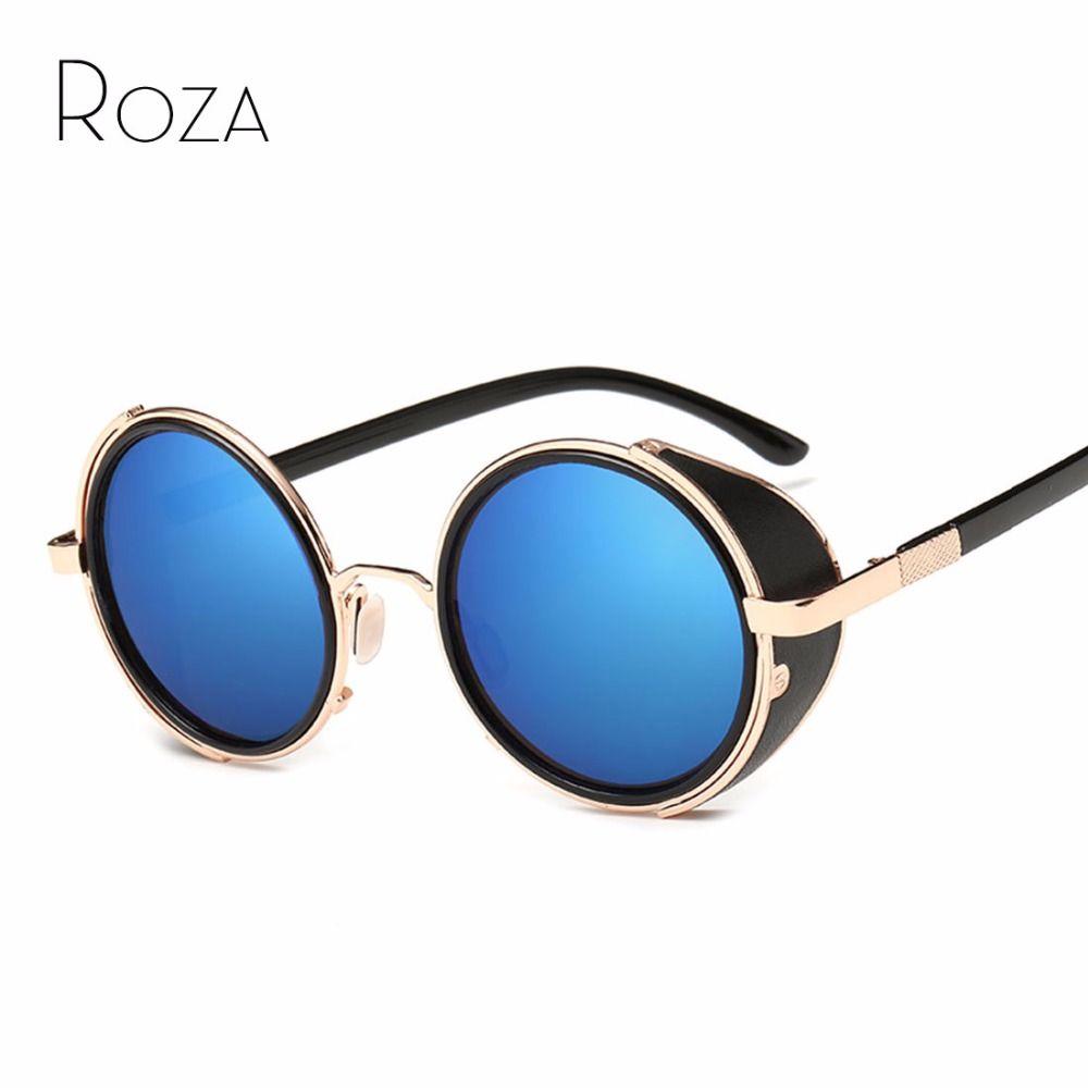 ROZA Brand Design Retro Frame Round Sunglasses Men Punk Style Goggle Sun Glasses 7 Colors Oculos De Sol UV400 QC0040