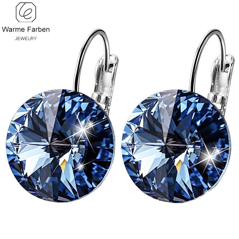 WARME FARBEN Swarovski Earring for Women Round Crystal Drop Earring Fine Jewelry 925 Sterling Sliver Brincos