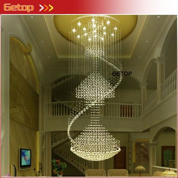 Modern Luxury Spiral Large Crystal Chandelier Round Pendant Lamp Fixture for Double Stairs GU10 LED Crystal Lights Free Shipping