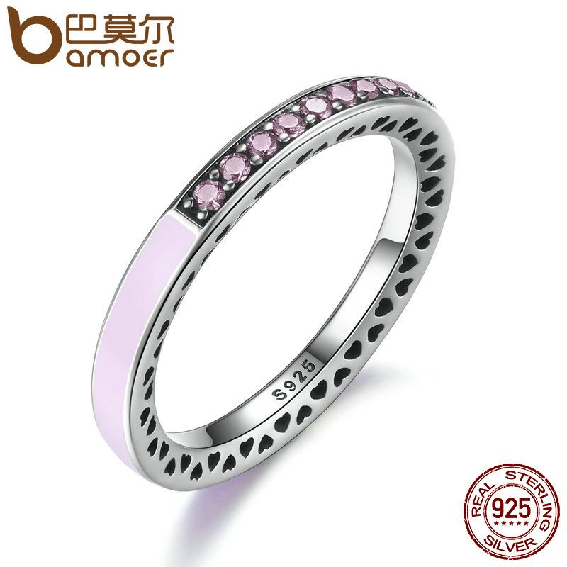 BAMOER 100% 925 Sterling Silver Radiant Hearts Light Pink Enamel & Clear CZ Finger Ring Women Valentine's Day Jewelry PA7603
