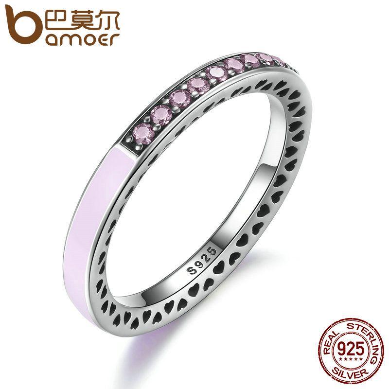Bamoer 100% plata esterlina 925 corazones radiante rosa claro esmalte y claro CZ anillo de dedo mujeres joyería del Día de Madre PA7603