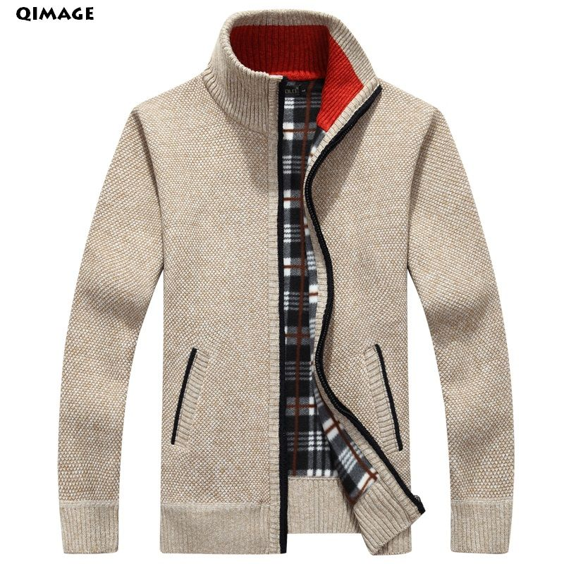 QIMAGE 2017 Men's Sweaters Autumn Winter <font><b>Warm</b></font> Cashmere Wool Zipper Pullover Sweaters Man Casual Knitwear Plus Size M-XXXL