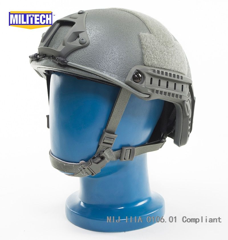 ISO Certified MILITECH FG OCC Dial NIJ Level IIIA 3A FAST High Cut Bulletproof Aramid Ballistic Helmet With 5 Years Warranty