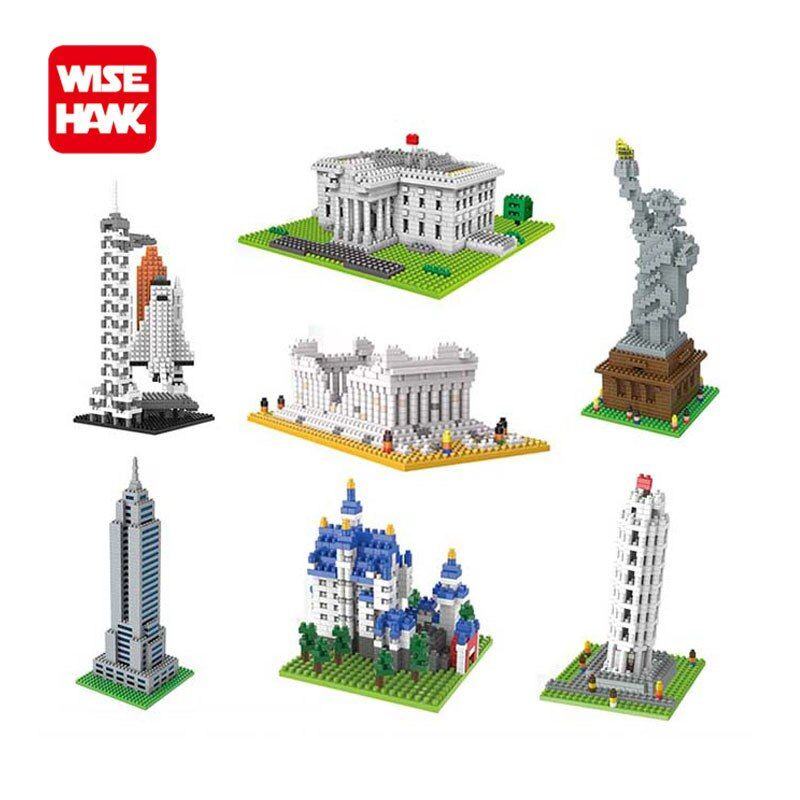Hot toys nanoblock world famous architecture Statue of Liberty building blocks mini construction brick model iblock fun for kid.