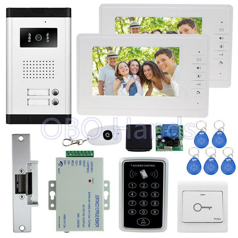 7 ''verdrahtete video tür telefon kit set mit IR kamera + RFID access control keypad + schlüssel + 2 monitore + EM schloss für intercom system auf verkauf