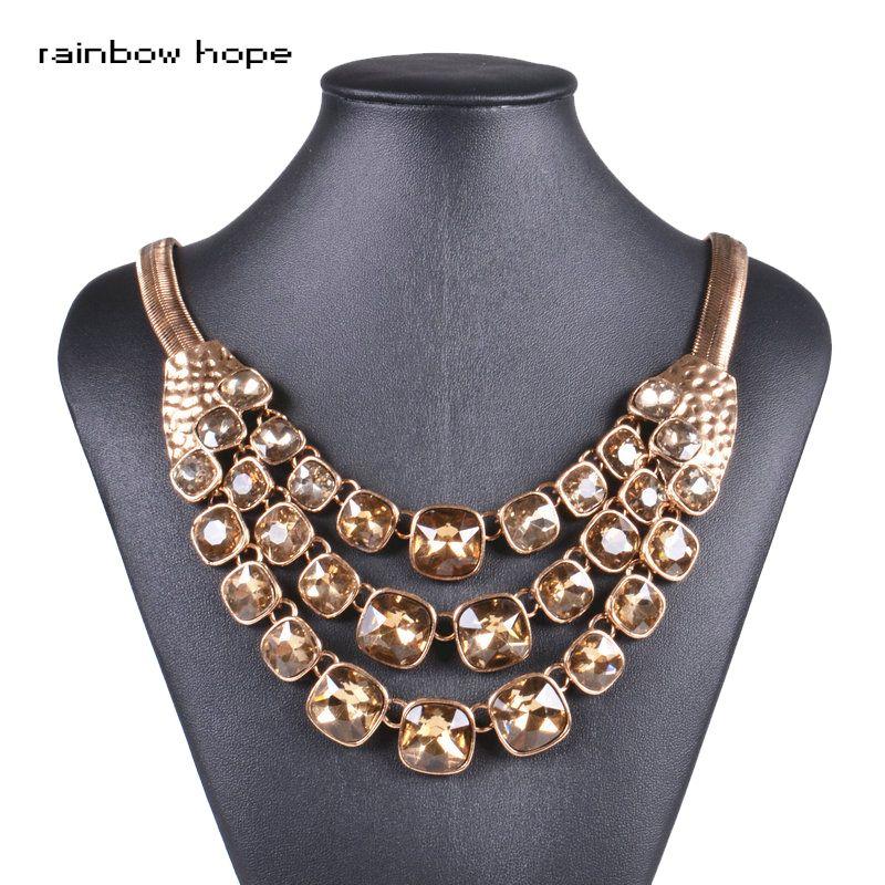Vintage style déclaration big cristal pendentif femmes neckalces Antique couleur Or chaîne collier ras du cou pour femmes bijoux de mode