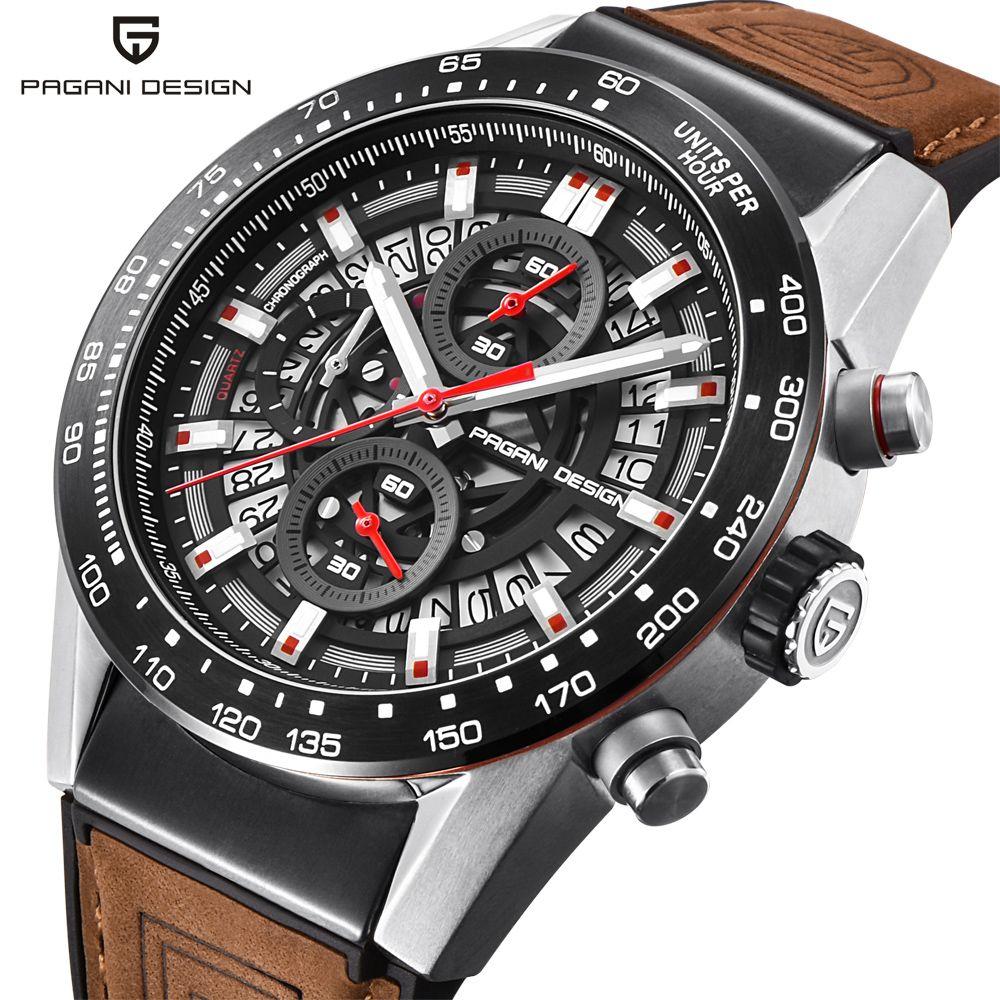 PAGANI DESIGN Fashion Skeleton Sport Chronograph Watch Leather Strap Quartz Mens Watches Top Brand Luxury Waterproof Clock