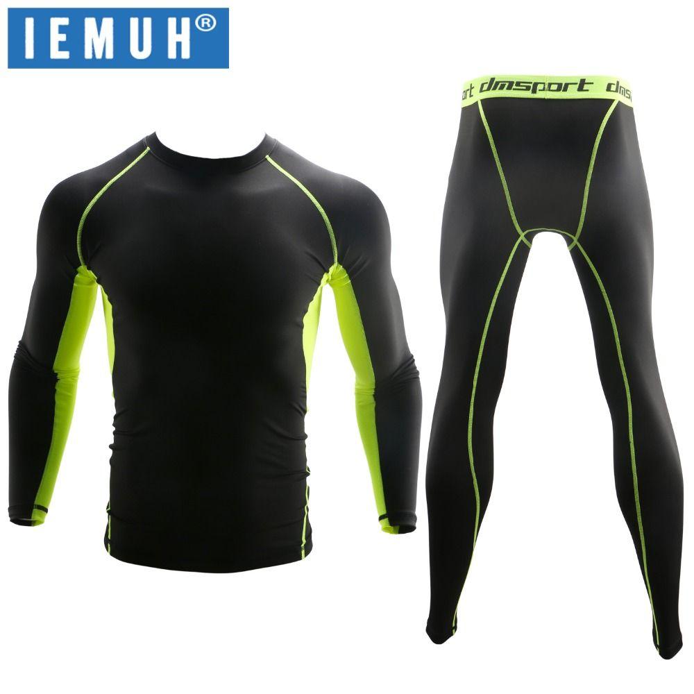 Iemuh новые зимние комплекты термобелья мужчины Quick Dry анти-микробных стрейч мужская термо белье мужской теплый с длинным джонс фитнес