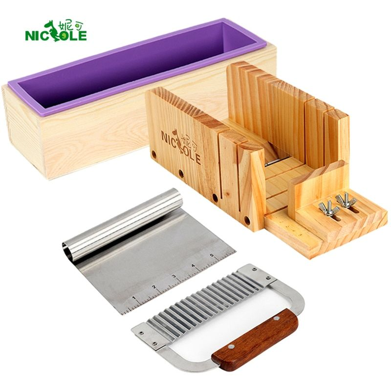 Nicole Silicone Loaf Soap Mold Set-4 Wooden Cutter Box With 2 Pieces Stainless Steel <font><b>Blade</b></font> for DIY Handmade Soaps Making Tool