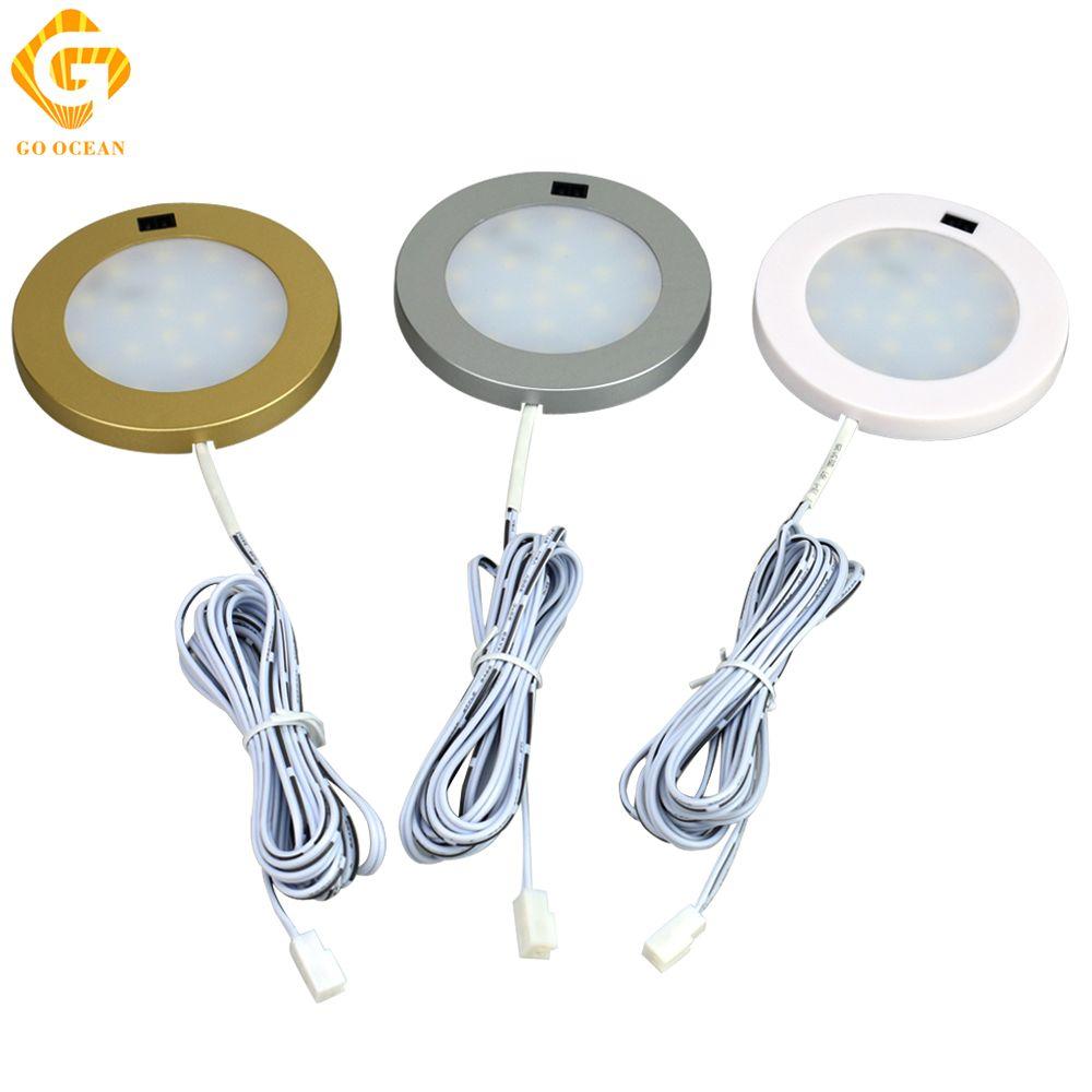 GO OCEAN LED Under Cabinet Lighting LED Lamp Aluminum Sensor Motion IR Kitchen Light Cabinet Light Round Shelf Lighting
