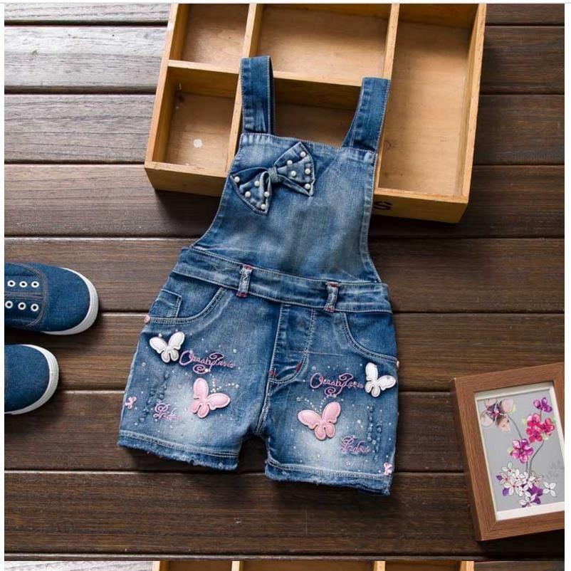 2018 nouvelles filles Jeans salopette été enfants Cowboy sangle Shorts coréen Denim combinaison enfants solide ensemble m12580