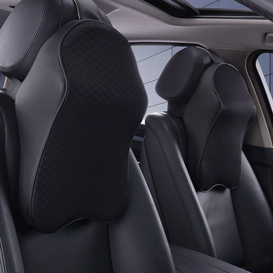 Dewtreetali New Auto 3D Space Memory Foam Car Leather Neck Pillow Head Restraint Car Headrest Pillow Car Styling