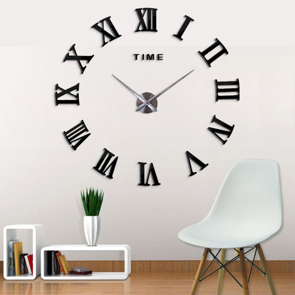 Nouvelle mode 3D grande taille numérique belle horloge murale nouvelle couleur noire décor à la maison livraison gratuite nouvelle horloge montre horloges murales