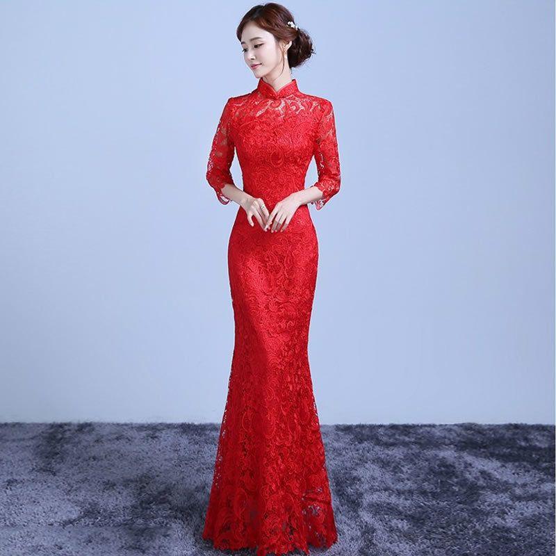 De Encaje rojo Largo Cheongsam Chino Tradicional Vestido de Las Mujeres Qipao Modern Vestidos de Robe Orientale de Noche Vestido de Boda de Qi Pao YYQP