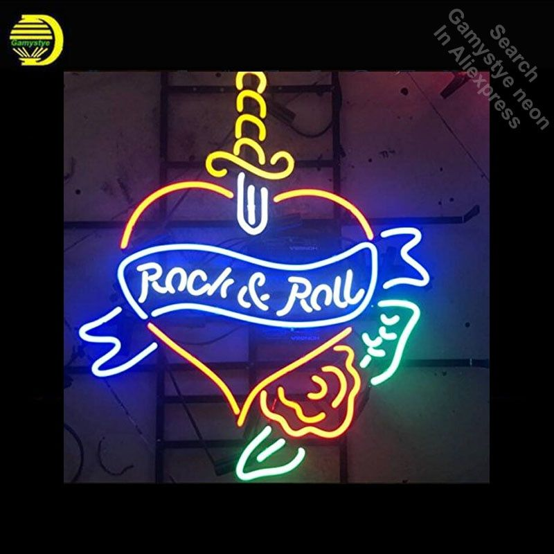 Neon Signs for Rock Roll Heart Neon Light Sign Handcrafted arcade Neon Bulb Lamps Commercial Decorate Room dropshipping