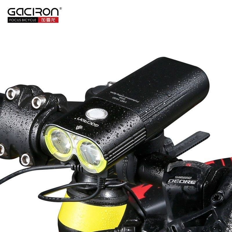 GACIRON 1600Lumens Bike Front Light Cycling Headlight Bicycle Rechargeable Flashlight Waterproof 5000mAh LED Head Lamp for MTB