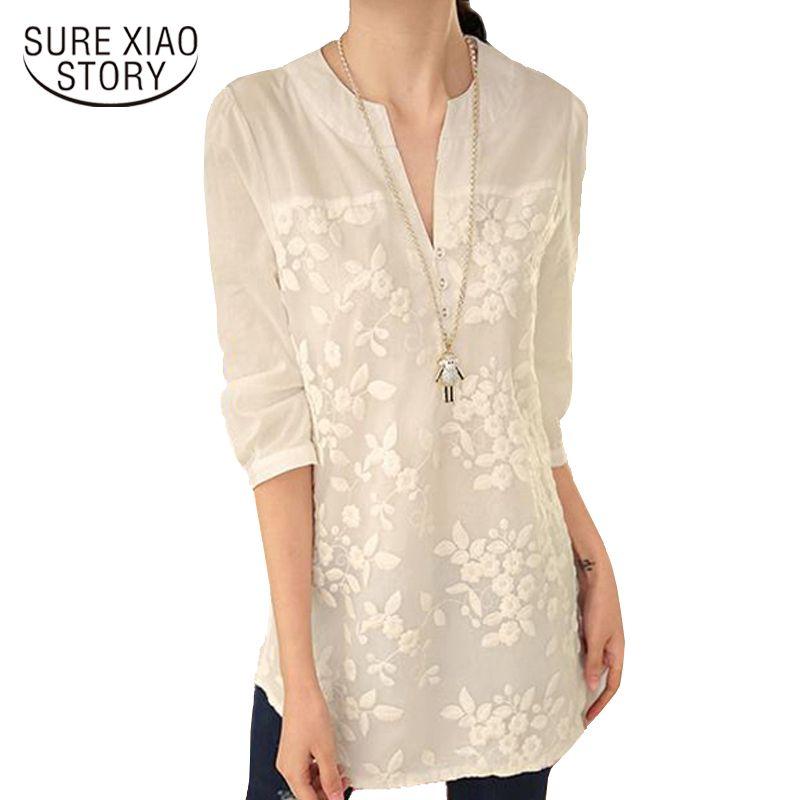 Nouveau V-cou Organza Brodé Chemise Blanc Dentelle Blouse Top Plus Taille D'été Coréenne Femmes Chemisier Fleur femmes Blouse 566F 25