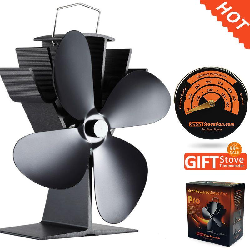 Бесплатный подарок плита термометр + Best продавец эко дровяной печи вентилятор тепла питание вентилятор печки