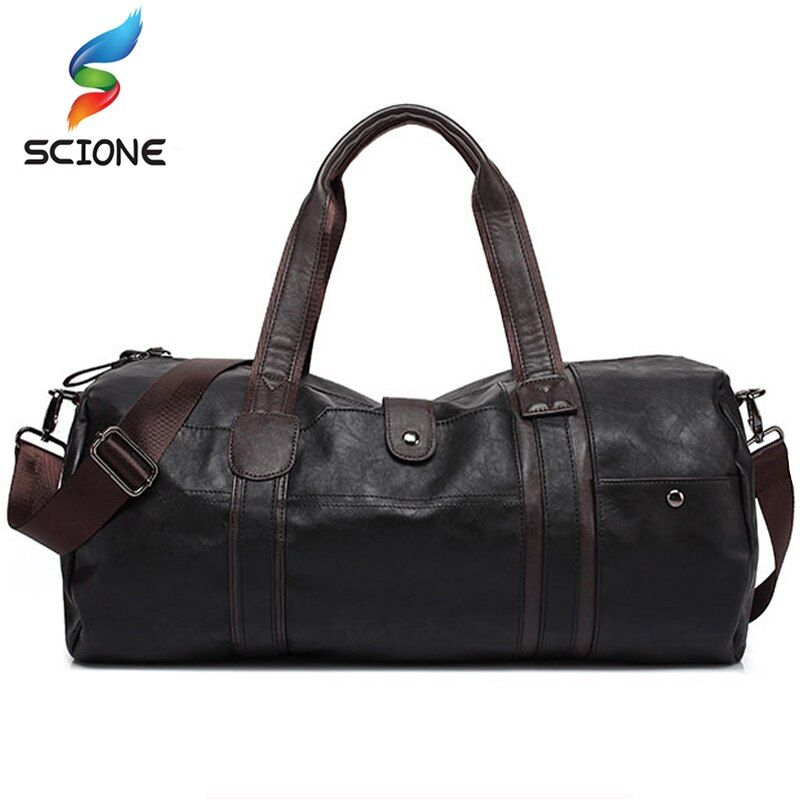 2018 Hot Men's Large Capacity PU Leather Sports Bag Gym Bag <font><b>Fitness</b></font> Sport Bags Travel Shoulder Handbag Male Bag Black Brown