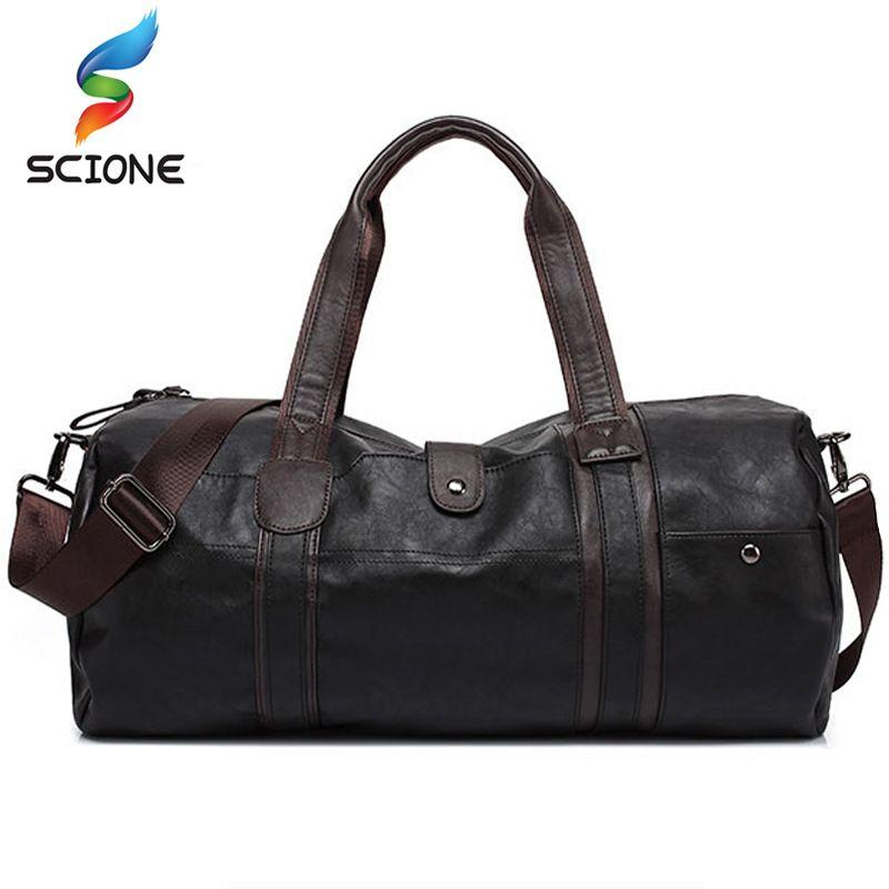 2018 Hot Men's Large Capacity PU Leather Sports Bag Gym Bag Fitness Sport Bags Travel Shoulder Handbag Male Bag Black Brown