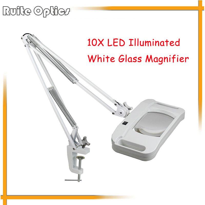 220V 10X Large Desk Clip-on LED Illuminated White Optical Magnifying Glass LED Lamp Folding Stand Big Magnifier With LED Lights