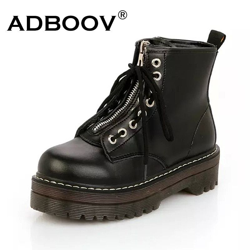 ADBOOV Quality PU Leather Platform Ankle Boots Women Zip Flat Martin Boots Cow Muscle Sole Winter Shoes Woman Chaussures Femme