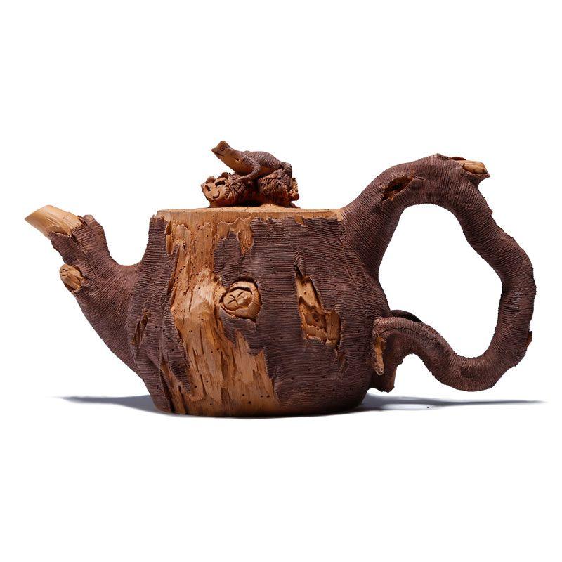 180ml Authentic old purple clay pot Chinese Manual custom tea pot set Lizard pottery bamboo section stump zisha teapot Gift
