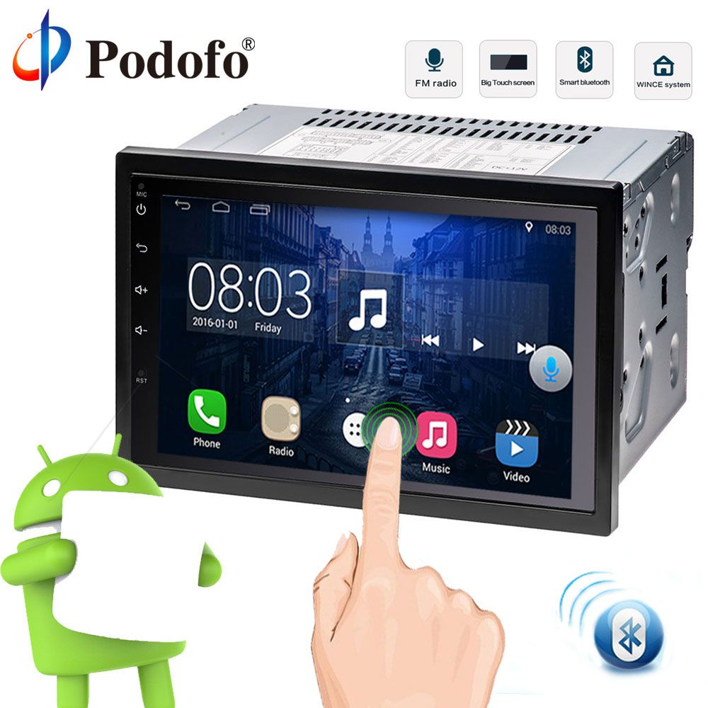 Podofo 2 Din Car Radio Player 7'' Touch Screen GPS Navigation Bluetooth WiFi Android 6.0 Car Media Player Universal For Nissan