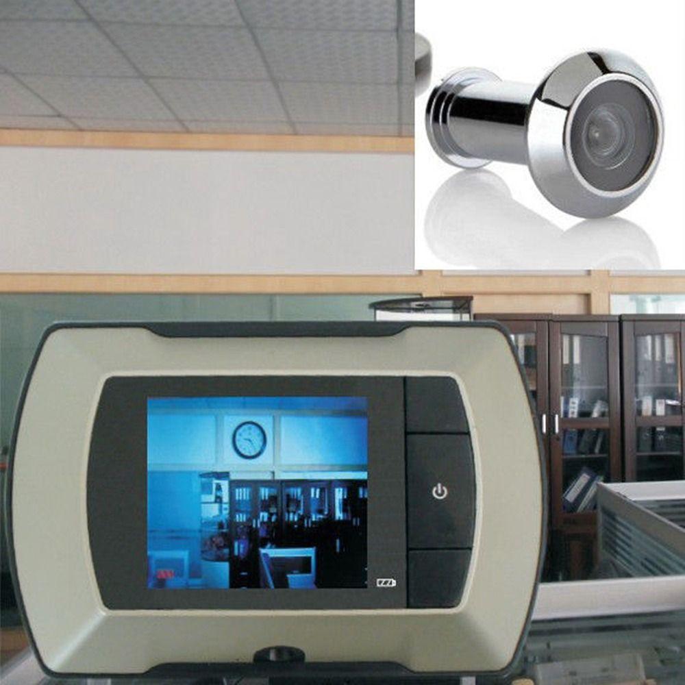 Высокая Разрешение 2.4 дюймов ЖК-дисплей видео-глаз визуальный Мониторы угол обзора 100 градусов Беспроводной дверной глазок Камера белый вид...