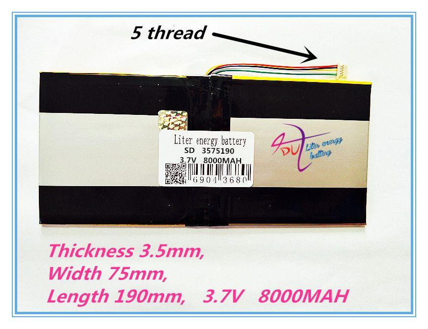 5 gewinde beste batterie marke 3575190 3,7 V lithium-polymer batterien 8000 mah tablet MID eingebaute batterie