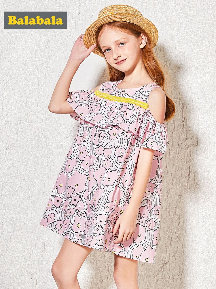 Balabala Girls Open Shoulder Dress with Flounce at Top Teenager Girls Print Dresses Sundress Holiday Beach Summer Dresses Oufits