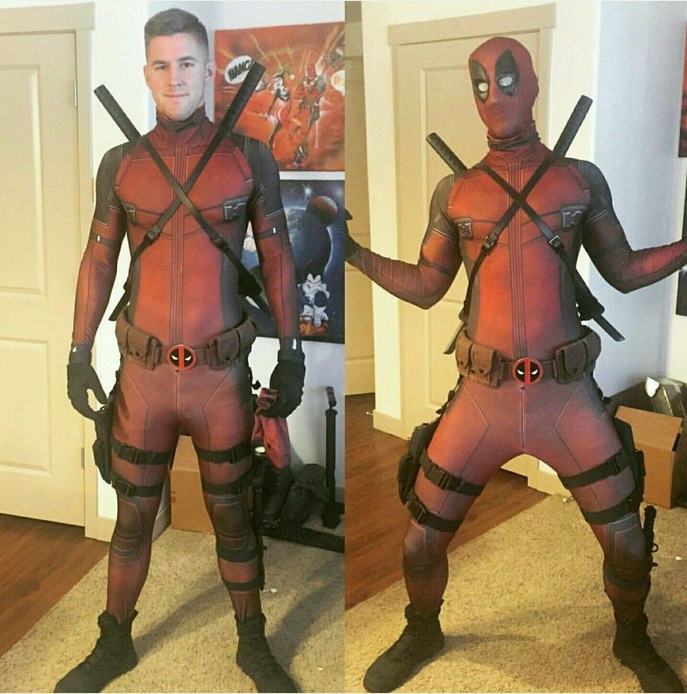 3D Digital Print Lycra Superhero Cosplay Marvel Deadpool Custome Full Body Deadpool Halloween Cosplay Costume For Adult and Kids