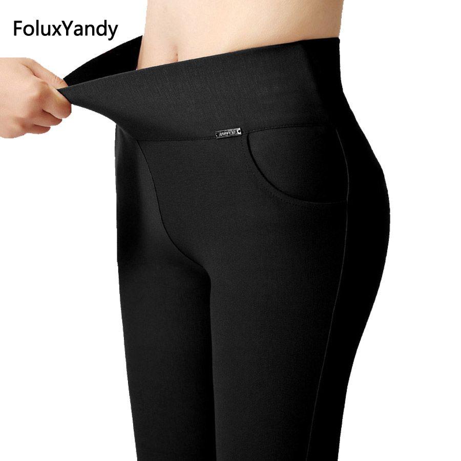 6 Couleurs Taille Haute Leggings Femmes Plus Taille 3 XL Mince Élastique Étiré Moulante Leggings Pantalons Dame De Bureau NJR02