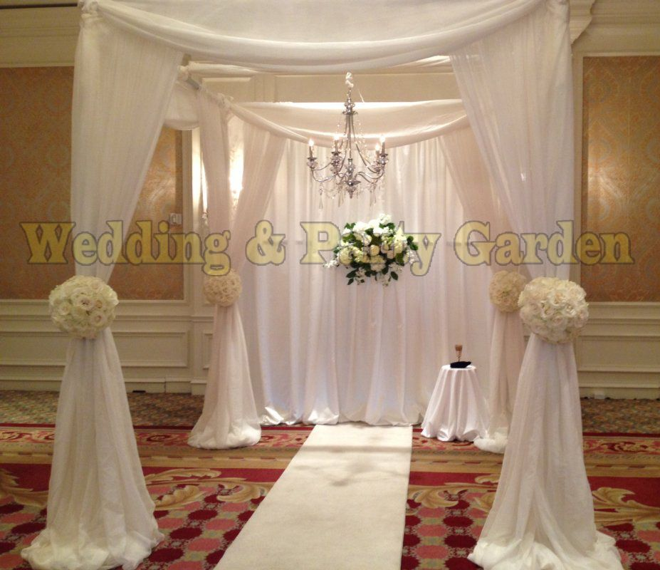 10ft*10ft*10ft White square canopy drape with pipe stand wedding pavillion stage decoration