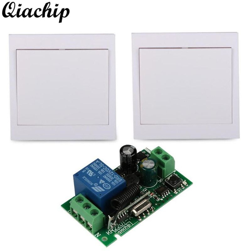 QIACHIP AC 220V 1CH Wall Panel Receiver Remote Control Switch Room Stairway Light Lamps and RF RX TX Remote Controls Transmitter