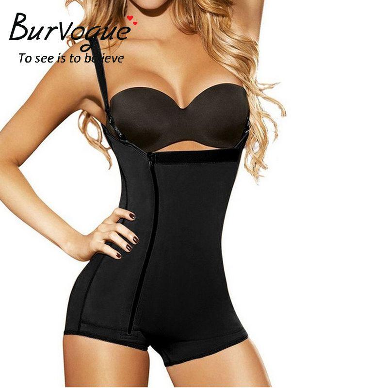 Burvogue Women Shaper Open Crotch Bodysuit <font><b>Waist</b></font> Trainer Control Underbust Underwear Shaper Butt Lifter Latex Zipper Body Shaper