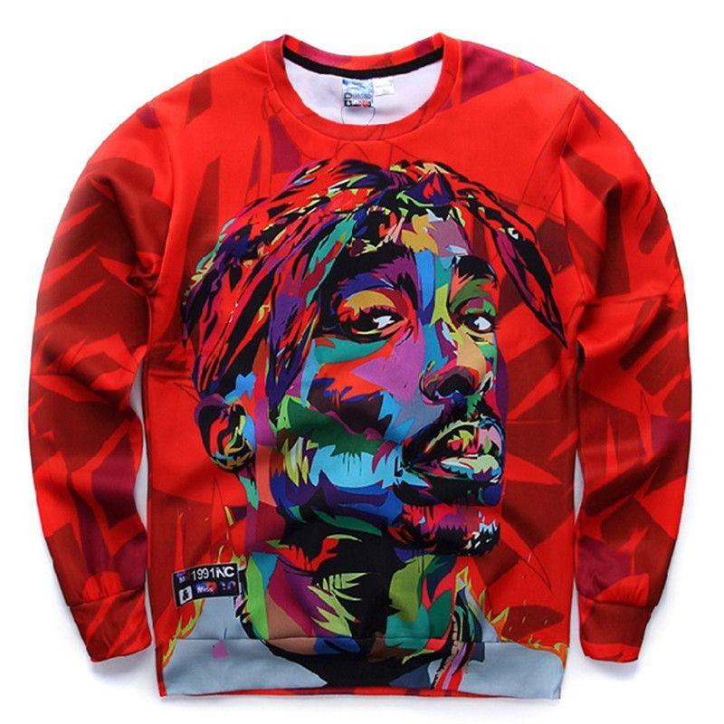 Chaud automne et hiver hommes mode hommes à manches longues sweat Tupac col rond pull sweat 3D à manches longues T-Shirt 06