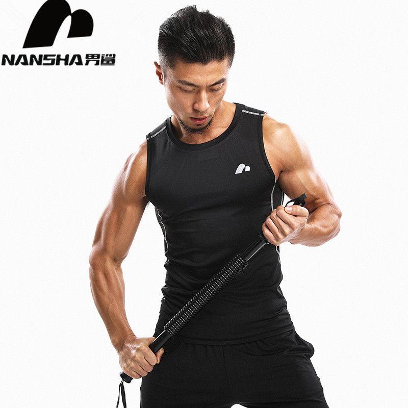 NANSHA 2018 hommes Muscle Tank hauts Compression musculation gilet vêtements Fitness hommes maillot de bain hauts maillot de bain